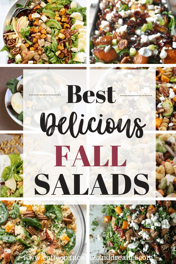 9 Fall Salad Recipes to make this year #sweetpotato #kale #vegetarian #pastasalad