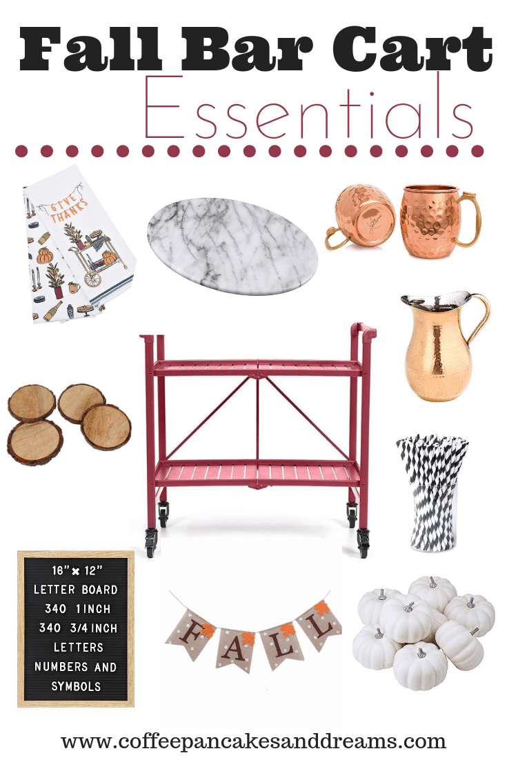 Fall Bar Cart Essentials #falldecorating #barcartstyle #inexpensivedecor