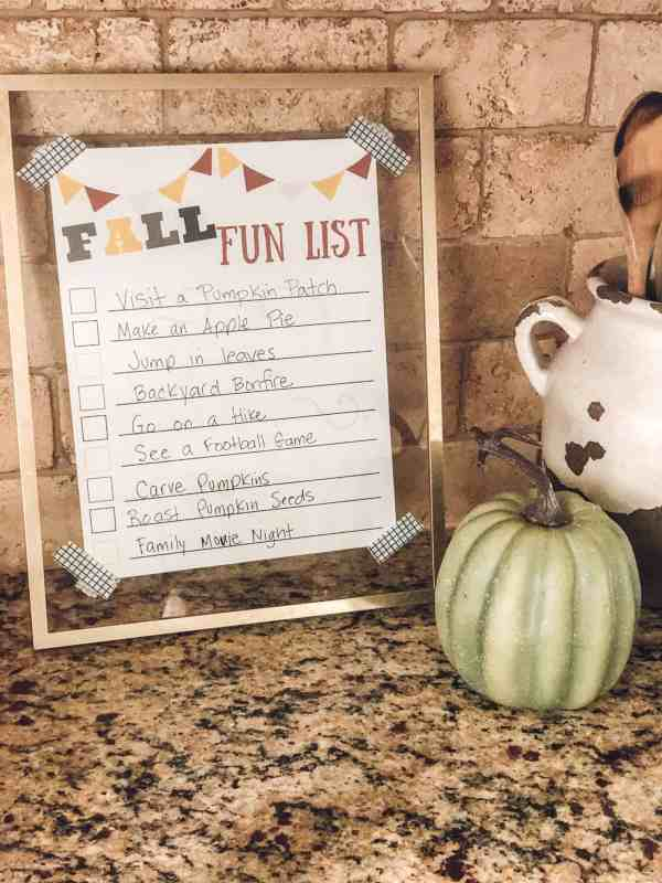 Fall Printable Fun LIst