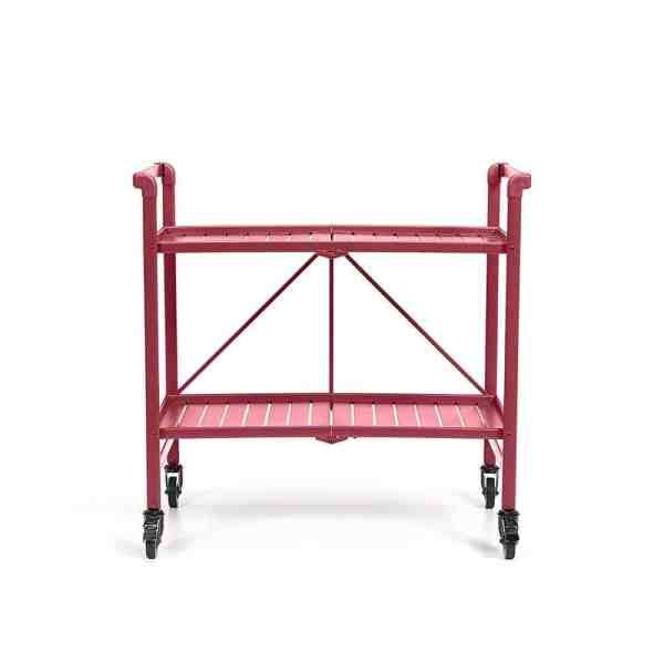 Red Rolling Bar Cart with Wheels