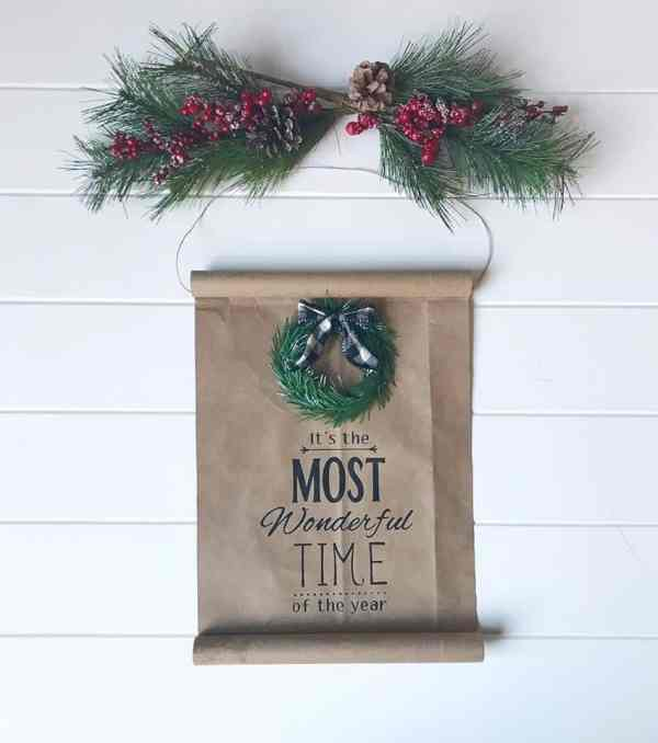 diy christmas scroll sign