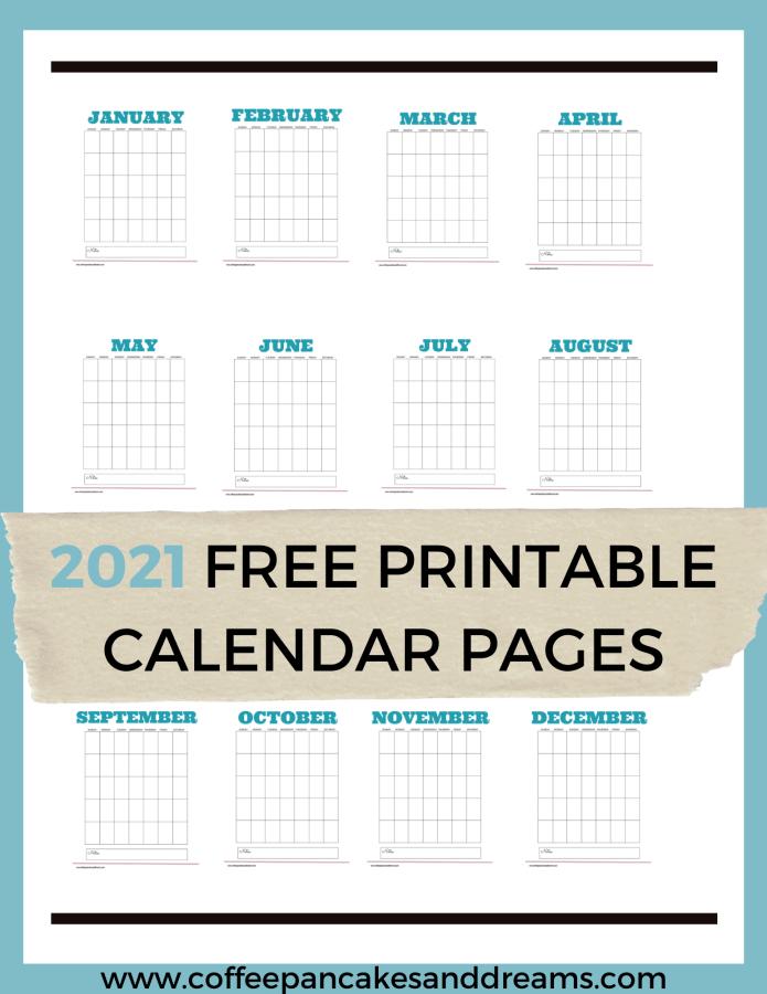 2021 Free Printable Calendar PDF #minimalist #blank #template