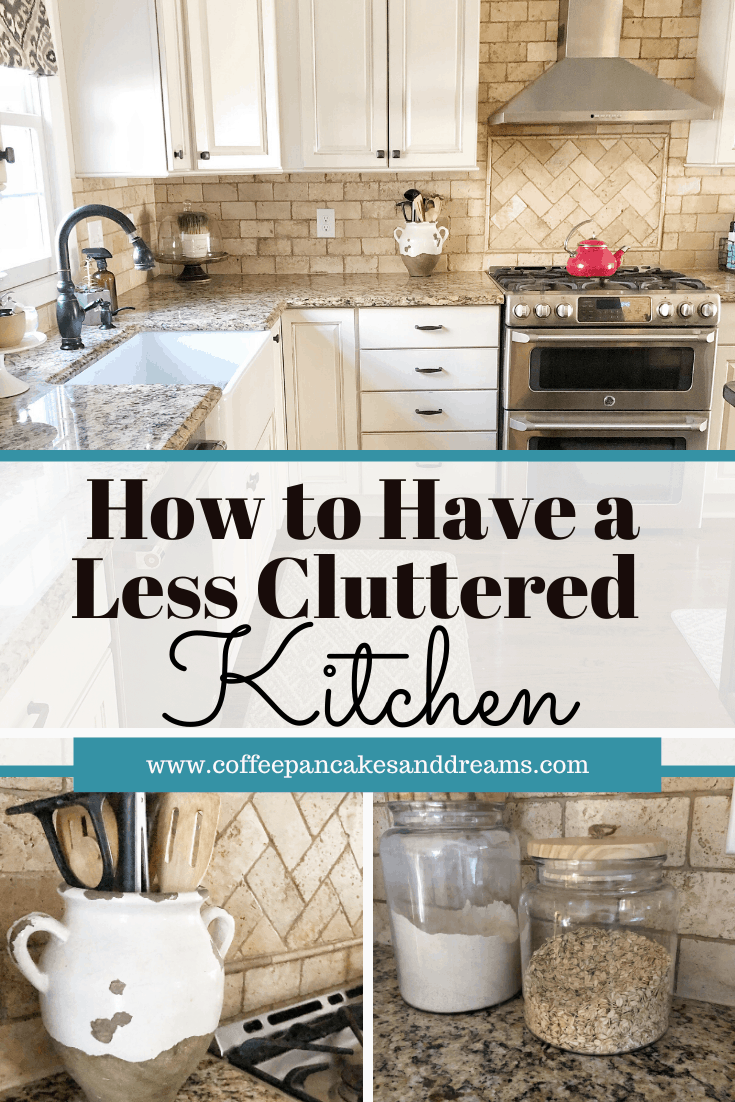 Simple steps to a clutter free kitchen #declutter #kitchenorganization #farmhousekitchen #countertops