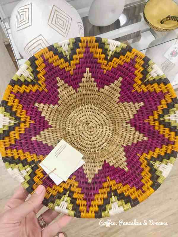 Colorful handmade basket from Rwanda