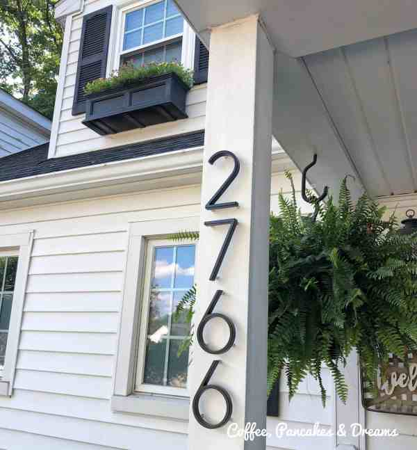 Where to buy metal address numbers for the front door #curbappeal #frontporch #inexpensive