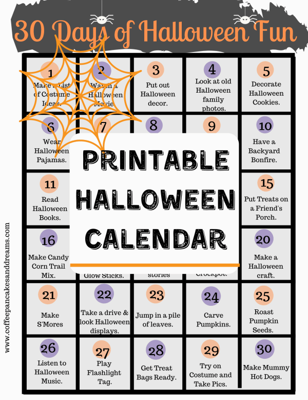 Halloween activities calendar