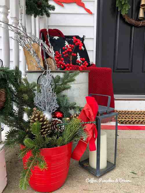 Small Front Porch Christmas Ideas #lights #decor #greenery