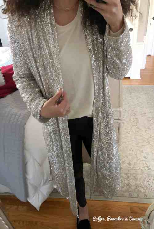 Sequin Duster Cardigan for New Year's Eve #casualnewyearseveoutfit #NYEoutfit