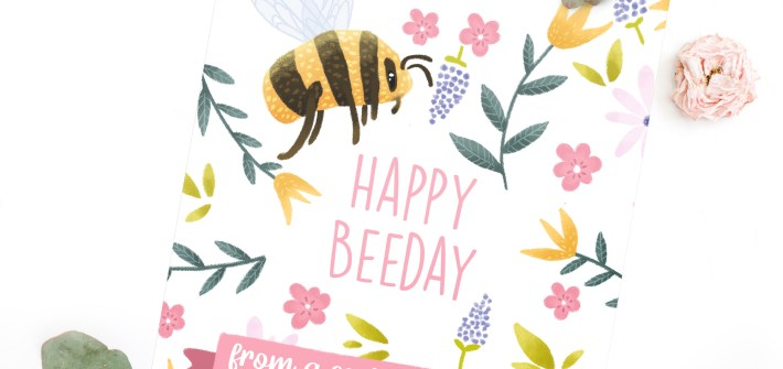 Social Distance Birthday Card - Illustrated Card with Bumblebees and Flowers. Text: Happy Beeday from a social distance.