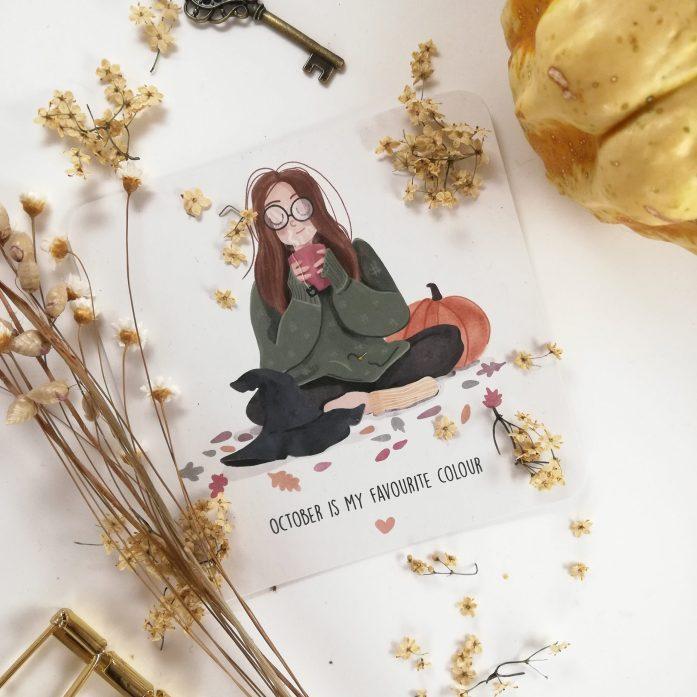 Nahaufnahme der Herbstlichen Grußkarte mit der Hexen-Illustration