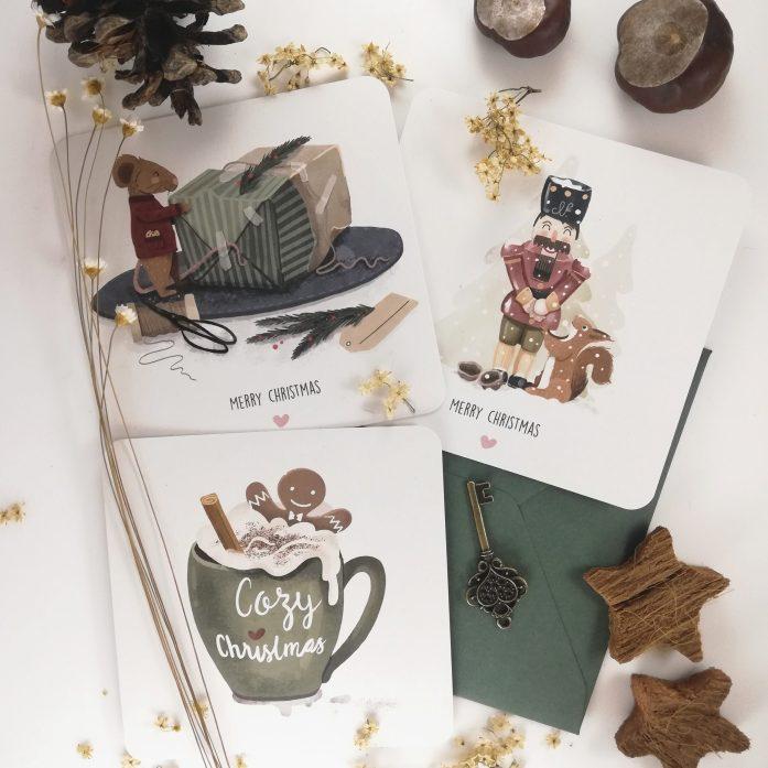 Alle drei Weihnachtskarten-Motive auf einen Blick