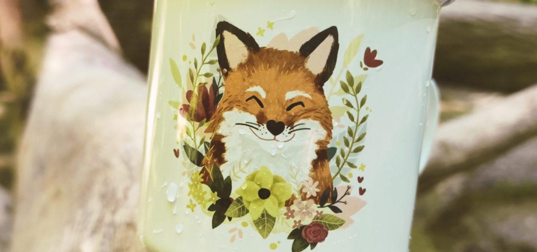 Emaille-Tasse mit Fuchs