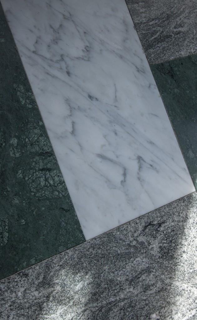 Marble floor white green gray tiles marmorilattia Brasserie Vau de Ville Stockholm