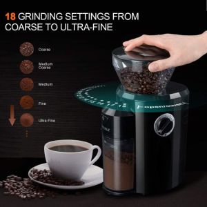 Secura Burr Coffee Grinder, Conical Burr Mill Grinder with 18 Grind Settings from Ultra-fine to Coarse