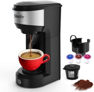 Upgrade Mini Single Serve Coffee Maker for K Cup Pods and Ground Coffee by Sboly