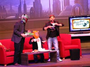 Jeremy Bulloch, Warwick Davis, and James Arnold Taylor during the Stars Of The Saga show