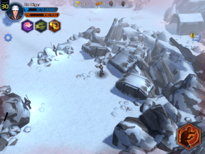 Screen shot of my hero on Hoth. Notice the crashed snow speeder in the upper right hand side?