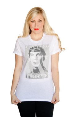 Gone but not forgotten, Spock will always Live Long and Prosper on this stylish Star Trek fashion top available at WonderCon.