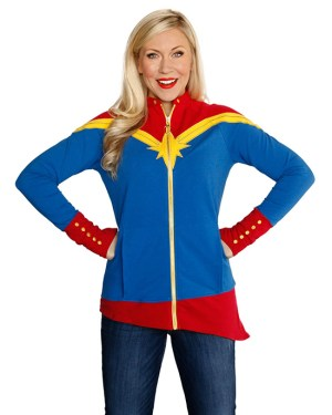 Her Universe will debut several new fashions at this year's WonderCon including this Captain Marvel asymmetrical jacket designed to mirror her classic costume!