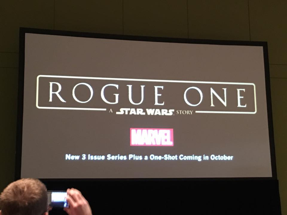 Image of Rogue One reveal at C2E2/Dennis Barger, owner of WonderWorld Comics.