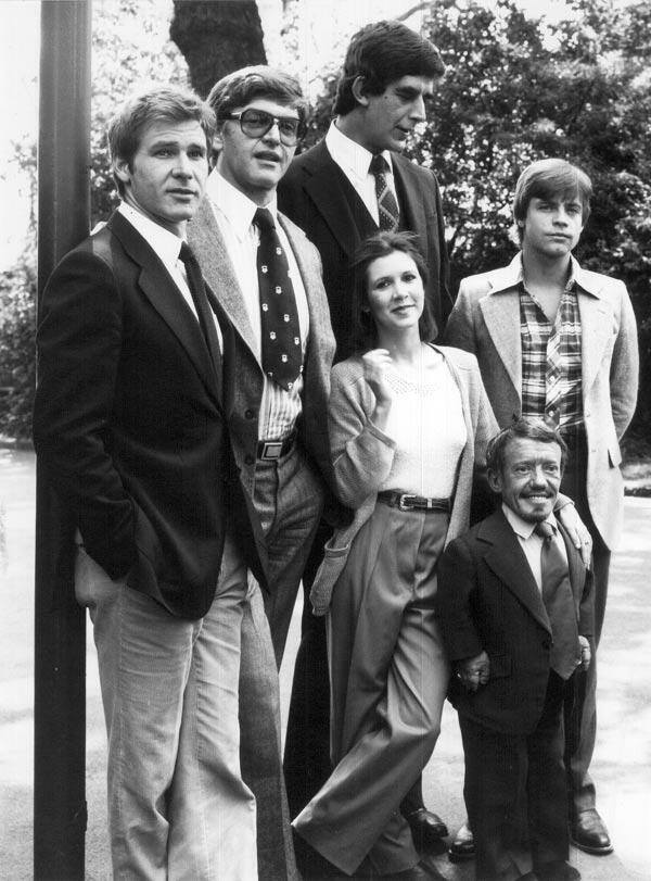 Harrison Ford, Dave Prowse, Peter Mayhew, Carrie, Kenny Baker, and Mark Hamill