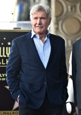 HOLLYWOOD, CA - MARCH 08: Harrison Ford at Mark Hamill Star Ceremony on the Hollywood Walk of Fame on March 8, 2018 at Hollywood Walk Of Fame in Hollywood, California. (Photo by Alberto E. Rodriguez/Getty Images for Disney) *** Local Caption *** Harrison Ford
