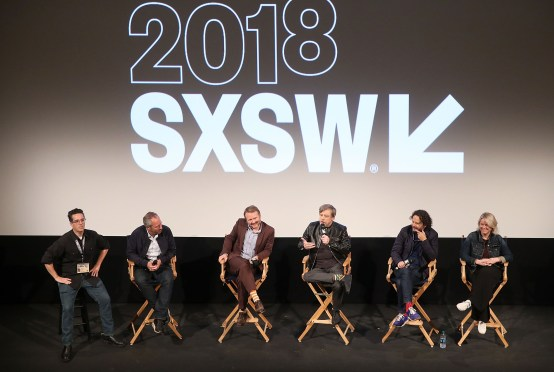 """AUSTIN, TX - MARCH 12: (L-R) Moderator Alex Johnson, director Anthony Wonke, Writer/Director Rian Johnson, actor Mark Hamill, producer Ram Bergman and producer Tylie Cox attend the Star Wars: The Last Jedi """"The Director and The Jedi"""" SXSW Documentary Premiere at Paramount Theatre on March 12, 2018 in Austin, Texas. (Photo by Jesse Grant/Getty Images for Disney) *** Local Caption *** Alex Johnson;Anthony Wonke;Rian Johnson;Mark Hamill;Ram Bergman;Tylie Cox"""