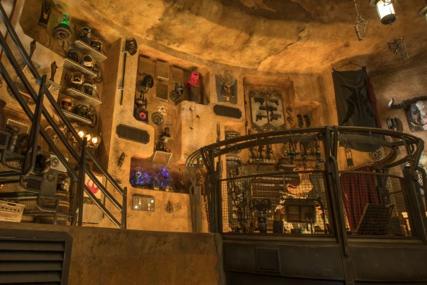 Guests visiting Dok-Ondar's Den of Antiquities in Star Wars: Galaxy's Edge at Disneyland Park in Anaheim, California, and at Disney's Hollywood Studios in Lake Buena Vista, Florida, will discover rare items from across the galaxy for sale, all part of Dok-Ondar's collection. Items represent different eras of the Star Wars saga, including holocrons, ancient Jedi and Sith artifacts, lightsabers and more. (Christian Thompson/Disney Parks)