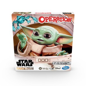 "OPERATION: STAR WARS THE MANDALORIAN EDITION Game (HASBRO/Ages 6 years & up/Approx. Retail Price: $19.99/Available: Spring 2020) With this OPERATION: STAR WARS THE MANDALORIAN EDITION Game, kids can imagine scenes from THE MANDALORIAN live-action TV series on Disney Plus. Fans have fallen in love with THE CHILD, the character they call ""BABY YODA,"" and must try to stop the mischief! Look at all the objects THE CHILD has taken, including a froggy, a cup of broth, and a mudhorn egg! Players can have fun using the tweezers as they try to remove the most pieces from the game unit without setting off the buzzer. When all of the objects have been removed, the player with the most pieces wins. This game is for 1 or more players. Includes gameboard, tweezers, 11 plastic objects, storage tray, and instructions. Requires 2 1.5V AA batteries, not included. Available at Amazon and Walmart."