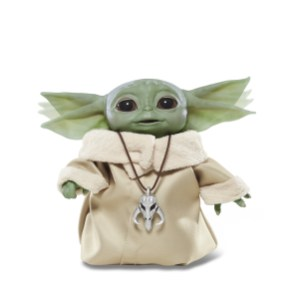 "STAR WARS THE CHILD ANIMATRONIC EDITION Toy (HASBRO/Ages 4 years & up/Approx. Retail Price: $59.99/Available: Fall 2020) From HASBRO'S STAR WARS Collection comes THE CHILD ANIMATRONIC EDITION toy with sounds and motorized sequences! He may look like ""BABY YODA,"" but this lovable creature is called THE CHILD – and now you can become his protector with this animatronic toy from STAR WARS. Touching the top of THE CHILD'S head activates over 25 sound and motion combinations, including happy and excited sounds, giggles, babbles, and more, all while the toy's head moves up and down, ears move back and forth, and eyes open and close. Boys and girls can pretend to harness the power of the Force as THE CHILD toy closes its eyes, raises its arm, and sighs as if exerting a great amount of energy. Lay THE CHILD toy down and it will close its eyes and take a ""Force nap."" Includes figure and Mandalorian pendant. Requires 2 AAA batteries, included. Available at most major retailers."