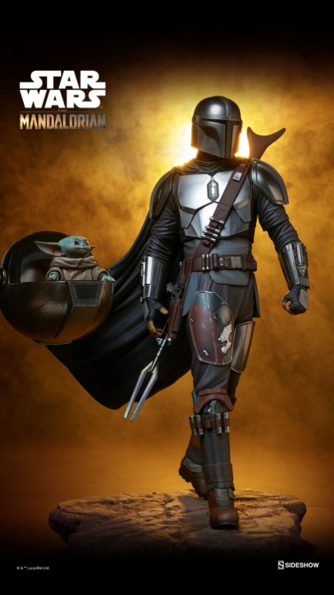 "The Mandalorian Premium Format Figure MSRP: $630.00 Available: Pre-order begins at 1:00PM PST on Sept. 21: Link: Link: https://www.sideshow.com/collectibles/star-wars-the-mandalorian-sideshow-collectibles-300786 Description: The polystone Mandalorian Premium Format Figure measures 20"" tall and is a detailed, dynamic, fully sculpted depiction of this renowned bounty hunter inspired by an iconic shot from the first season of the streaming series. Standing alongside The Child's signature hovering pram, the Mandalorian braves the dangerous galaxy to protect what was once his prey. His silver armor reflects the hard work and weathering it took to acquire enough beskar to create each piece, complete with his mudhorn signet, the symbol given to him by the Armorer in accordance with Mandalore tradition. Equipped with his bounty hunting tools of the trade, The Mandalorian proves himself to be one of the galaxy's most skilled and fearsome warriors."