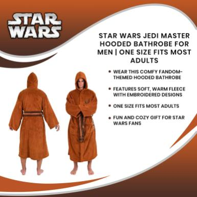 Star Wars Jedi Master Hooded Bathrobe for Men/Women | One Size Fits Most Adults