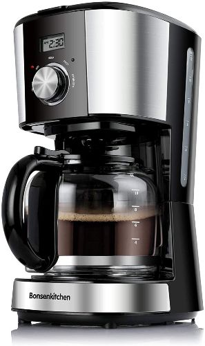 Bonsenkitchen CM8903 12 Cup Programmable Stainless Steel Drip Coffee Maker