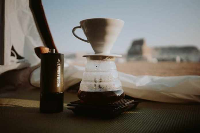 pour over coffee in tent