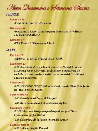 Actos Cuaresma y Semana Santa 2016