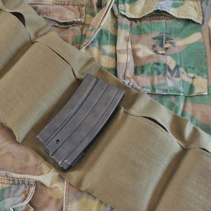 U.S. Military surplus Vietnam Era 7 pocket bandoleer and USMC ERDL camo and Mini-14 20 round magazine
