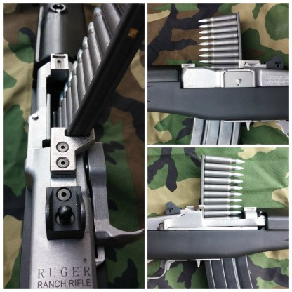 Mini-14 top mounted stripper clip guide collage