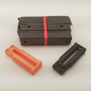 5 round magazine couplers for Mini-14 in red, orange, and black