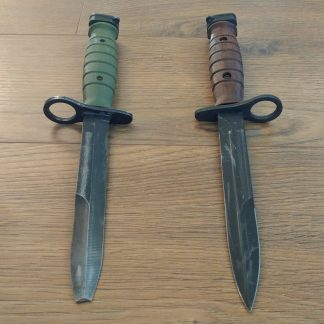 green and brown retro m7 bayonet grips
