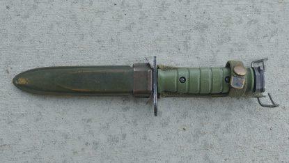 Green M7 bayonet in M8a1 scabbard