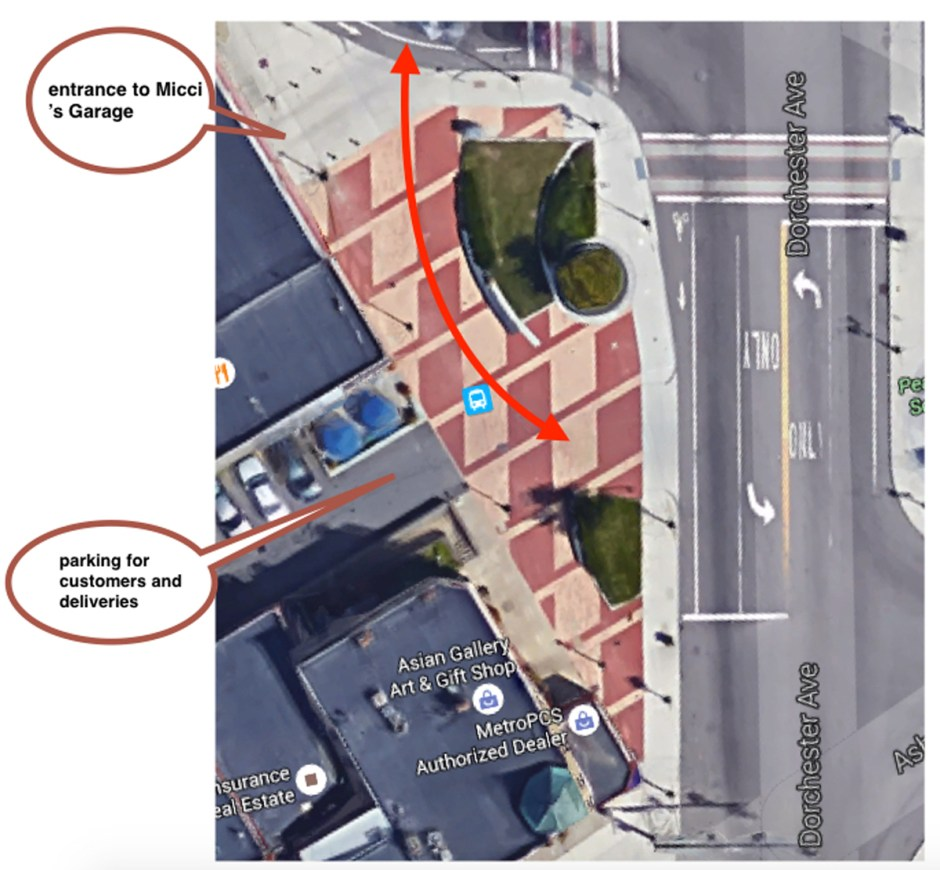 Peabody Square. Red arrow shows traffic conflict with pedestrians.