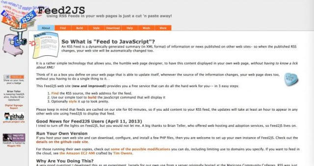 "Screen shot of the Feed2JS web site ""Using RSS Feeds in your web pages is just a cut and paste away"""
