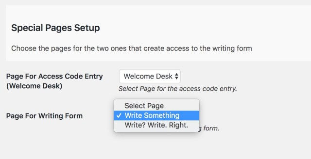 "Options for selecting the pages to be the Welcome Desk and the Writing Form, the latter has two different pages name ""Write Something"" and ""Write? Write. Right."" the latter selected."