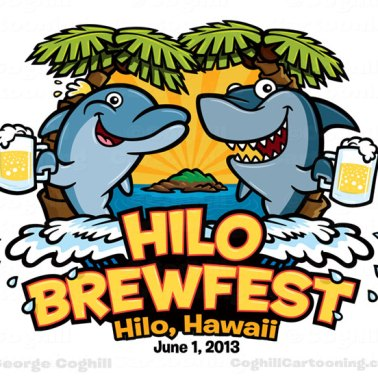 Cartoon logo dolphin shark beer island ocean Hilo Brewfest