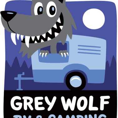 Grey Wolf RV cartoon logo.