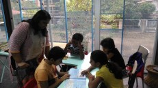 Meena in action during her reading workshop for children