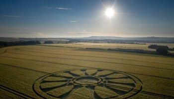 England, Crop Circle appeared in Wiltshire, represents the Sun with 12 rays