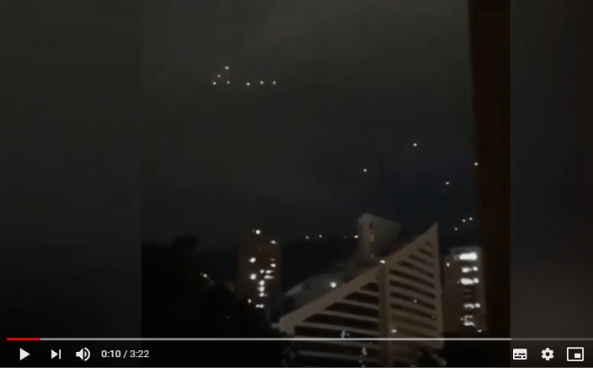 Colombia, spectacular sighting of a UFO fleet over the city of Meddellin
