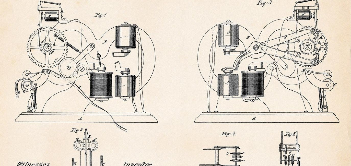 Image: 1869 Thomas Edison patent drawing for a ticker tape machine.