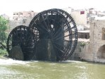 The Norias of Hama (Arabic: نواعير حماة‎): The wooden water wheels (norias=wheels of pots) in Hama Syria, on the Orontes River were submitted as a World Heritage Site in 1999.